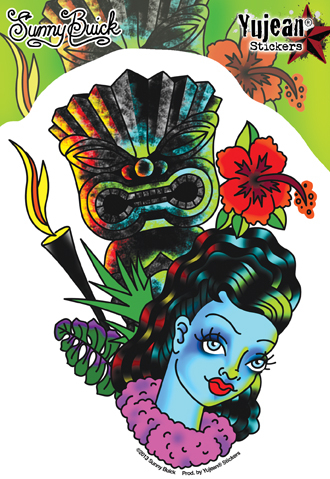 Sunny Buick Leilani Tiki Tattoo Pinup Sticker | CLEARANCE!!