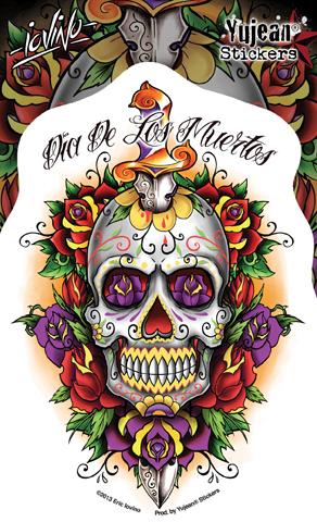 Eric Iovino Dagger Sugar Skull Sticker | Latino