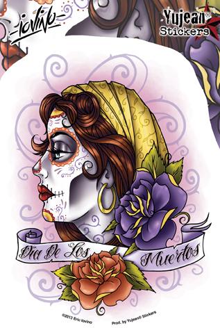 Eric Iovino Dia De Los Muertos Sugar Skull Girl sticker | Latino
