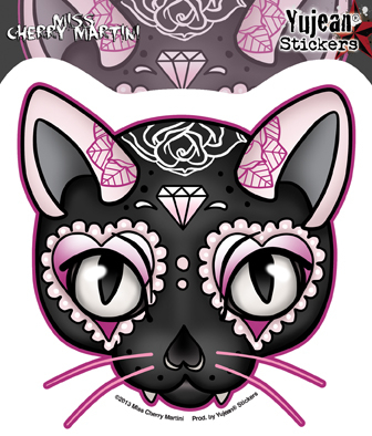 Miss Cherry Martini Pink Cat Sticker | Stickers