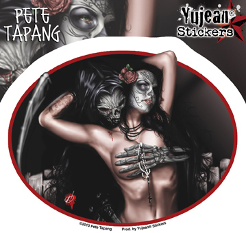 Pete Tapang Tragedy Grim Reaper, Sugar Skull Pinup Sticker | Stickers