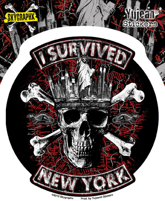 Skygraphx I Survived New York Sticker | Biker