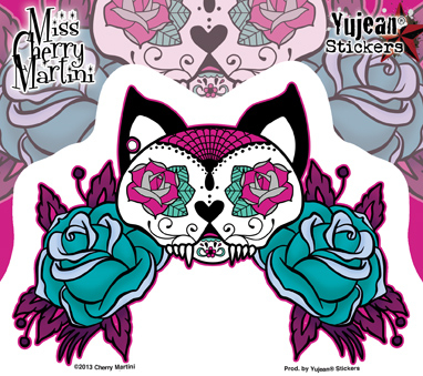 Miss Cherry Martini Tattoo Sugar Skull Cat Sticker | CLEARANCE!!