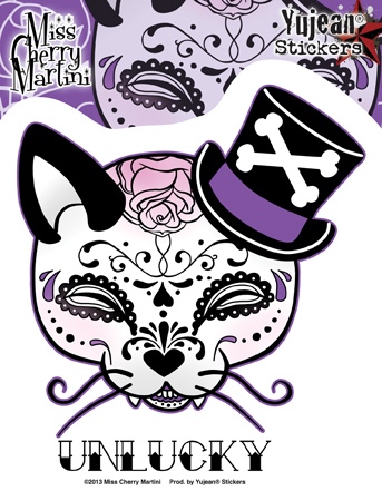 Miss Cherry Martini Top Hat Kitty Sugar Skull Sticker | Cats!