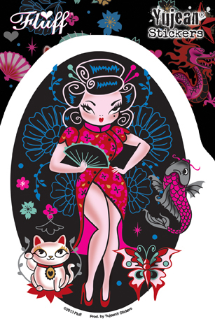 Fluff Geisha sticker | Window Stickers: Clear Backing, Put Them Anywhere!