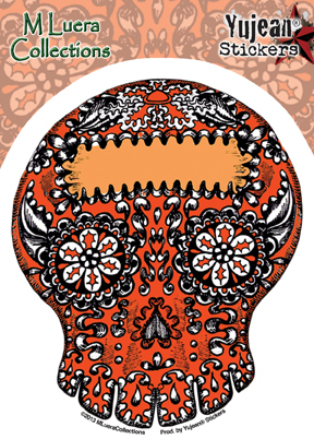 M Luera Kaleidescope Skull Orange Sticker | Latino