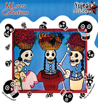 M Luera Market Ladies Day of the Dead sticker | Stickers