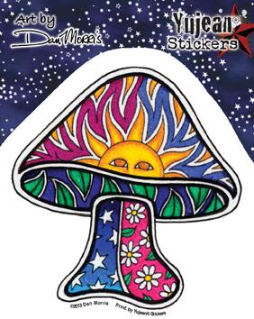 Dan Morris Sun Mushroom sticker | Window Stickers: Clear Backing, Put Them Anywhere!