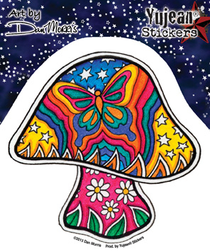 Dan Morris Butterfly Mushroom sticker | Window Stickers: Clear Backing, Put Them Anywhere!