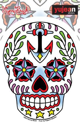 Sunny Buick Ancre Sugar Skull Sticker | Latino