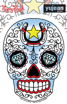 Sunny Buick Horseshoe Diamond Sugar Skull Sticker