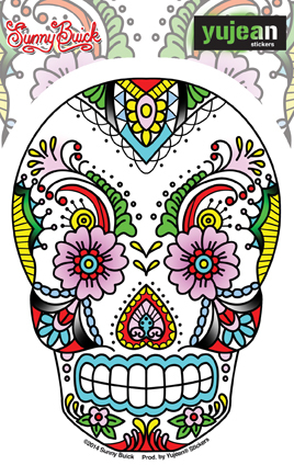 Sunny Buick Lace Sugar Skull Sticker | Window Stickers: Clear Backing, Put Them Anywhere!
