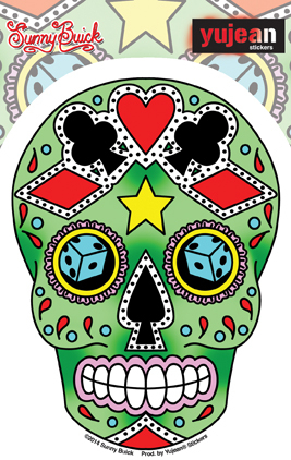 Sunny Buick Lucky Sugar Skull Sticker | Tattoo