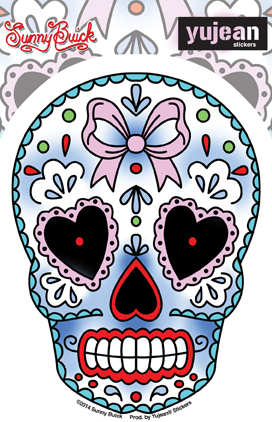 Sunny Buick Valentine Sugar Skull Sticker | Window Stickers: Clear Backing, Put Them Anywhere!