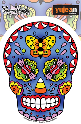 Sunny Buick Candy Sugar Skull Sticker | Butterflies