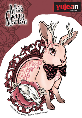 Miss Cherry Martini Bunny Tattoo sticker |