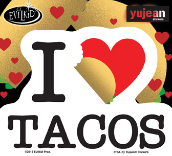 Evilkid I heart tacos | Stickers