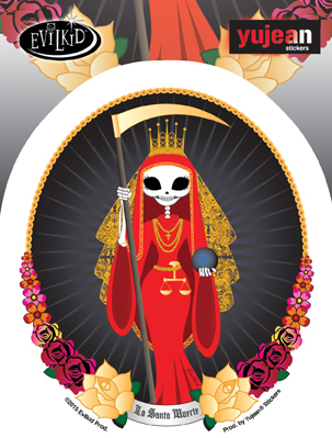 Evilkid Santa Muerte Sticker | Skulls and Dragons