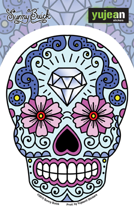 Sunny Buick Diamond Forehead Sugar Skull Sticker | Latino