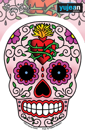 Sunny Buick Sacred Heart Sugar Skull Sticker | Tattoo