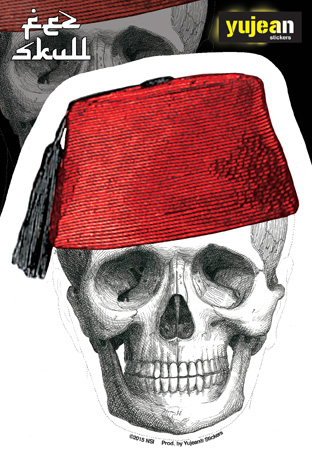 Cabinet of Curiosities Fez Skull-Face Sticker | Undead, Skeletons and Creatures of the Night