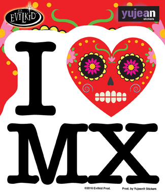 Evilkid I heart MX sticker | Sugar Skulls