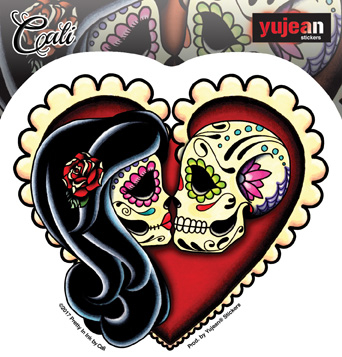 Cali Ashes Red Heart Sticker | Sugar Skulls