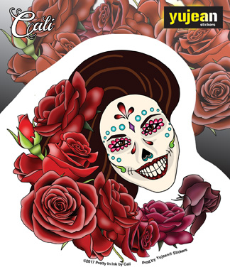 Cali Resting in Roses Sticker | Sugar Skulls