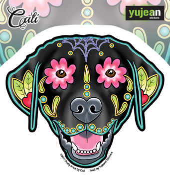 Cali Black Labrador Sticker | Sugar Skulls
