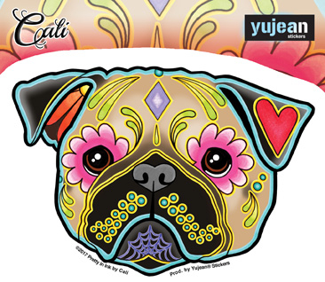 Cali's Pug Sticker | Sugar Skulls