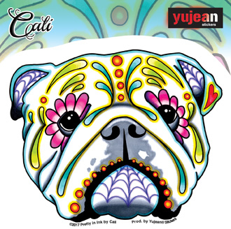Cali's English Bulldog Sticker | Window Stickers: Clear Backing, Put Them Anywhere!