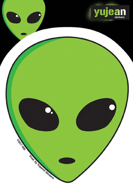 Alien Head Sticker | Window Stickers: Clear Backing, Put Them Anywhere!