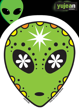 Alien Sugar Skull Sticker | Stickers