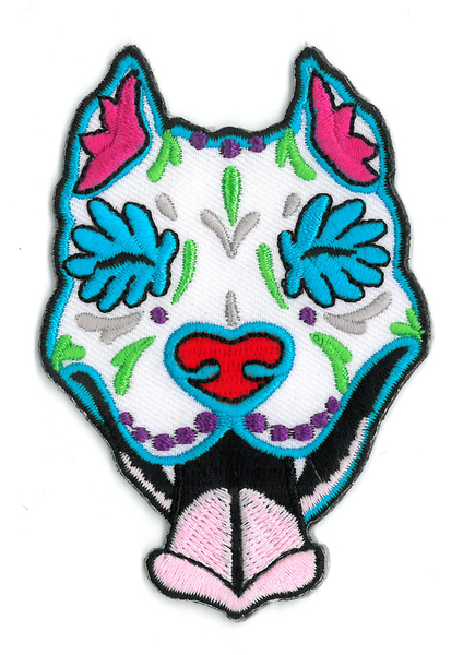 Cali's Slobbering Pitbull Embroidered Patch | Sugar Skulls