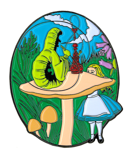 Alice & Caterpillar Large Enamel Pin | Cannabis