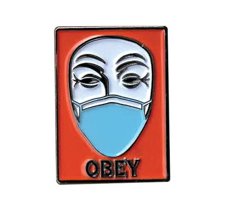 Obey Masked Guy Fawkes Enamel Pin | Pink #RESIST