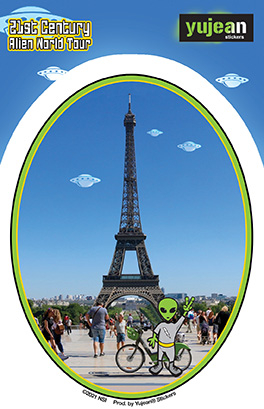 Eiffel Alien Sticker   Window Stickers: Clear Backing, Put Them Anywhere!