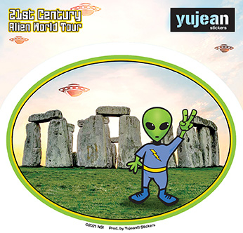 Stonehenge Alien Sticker | Window Stickers: Clear Backing, Put Them Anywhere!