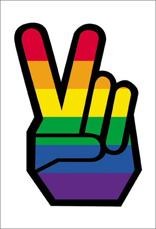 Rainbow Pride Peace Fingers Postcard