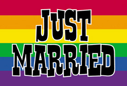 Pride Rainbow Just Married  postcard