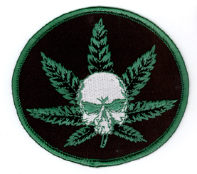 Skull Pot Leaf Iron On Patch