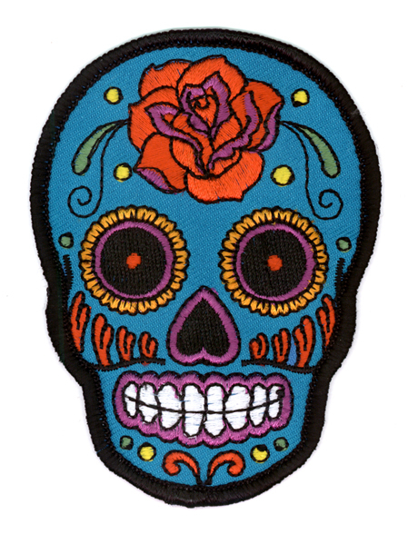 Sunny Buick Sugar Rose Skull Tattoo Iron On Patch