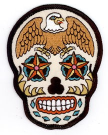 Sunny Buick Eagle Skull Sugar Skull Tattoo Iron On Patch