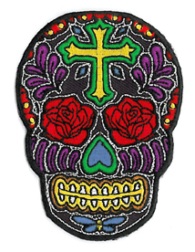 Rose Cross Sugar Skull Patch | Day of the Dead