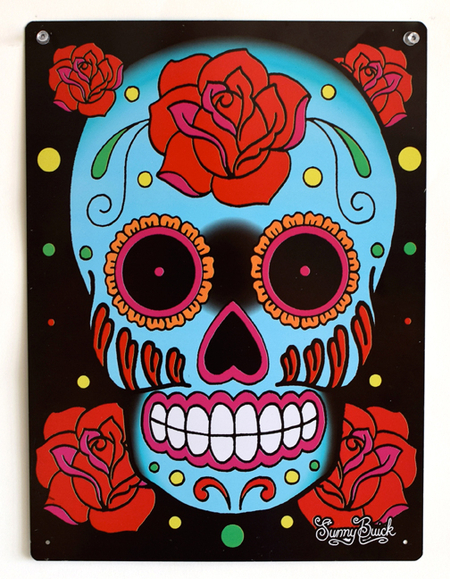 Sunny Buick Rose Sugar Skull Metal Sign | Metal Signs