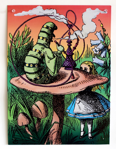 Alice and the Smoking Caterpillar Metal Sign | Fairies and Fantasy