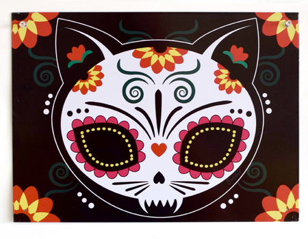 Evilkid Gato Muerto Metal Sign | Sugar Skulls