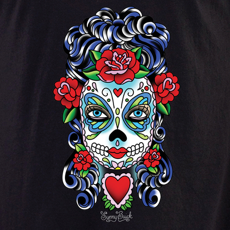 Sunny Buick Butterfly Eyes Sugar Skull Shirt | Latino
