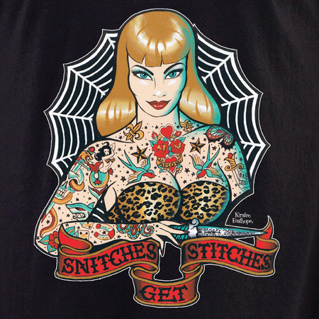 Kirsten Easthope Snitches Get Stitches Tattoo Shirt | Retro