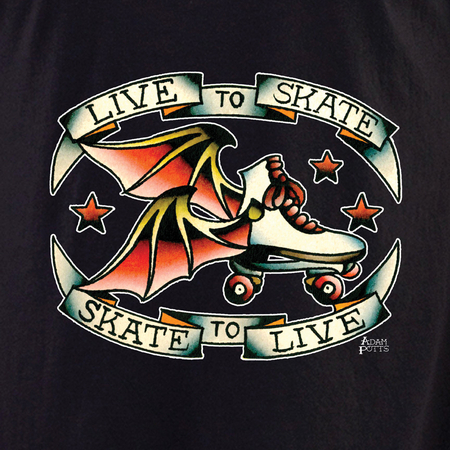 Adam Potts Skate to Live Roller Derby Tattoo Shirt | Roller Derby